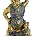A very rare cloisonne enamel and gilt-bronze foreigner, china, kangxi period