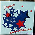 carte d'anniversaire ado étoilée bleu et rouge