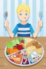 17157797-Une-illustration-d-un-gar-on-pr-t-manger-une-assiette-pleine-de-nourriture-Banque-d'images
