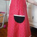 La robe tissu rouge à pois