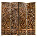 A dutch parcel-gilt and polychrome-painted embossed leather four-fold screen, 19th century