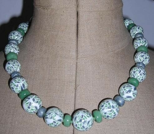 Collier mosaïque vert
