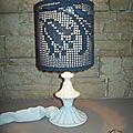 Lampe napperon bleu...