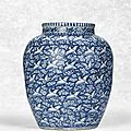 A reserve-decorated blue and white 'Hundred Cranes' jar, Wanli six-character mark within double circles and of the period (1573-1619)