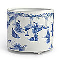 A large blue and white 'seven sages' brushpot, qing dynasty, kangxi period (1662-1722)
