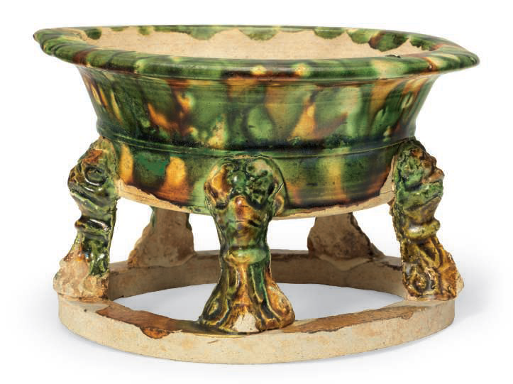 A Sancai-glazed pottery censer, Tang dynasty (ad 618-907)