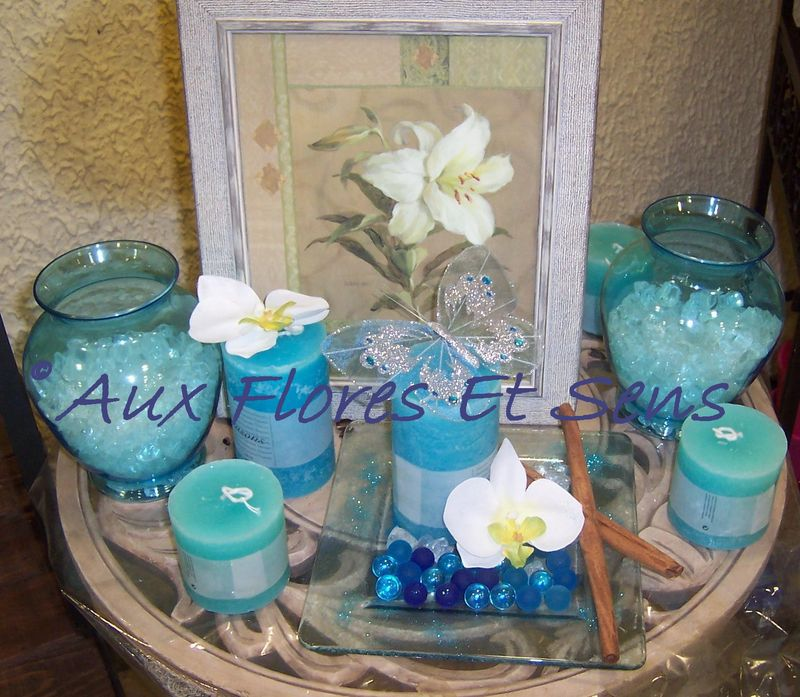 vases et bougies turquoises