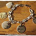 Bracelet grains de café PO coeur Vierge médailles-1