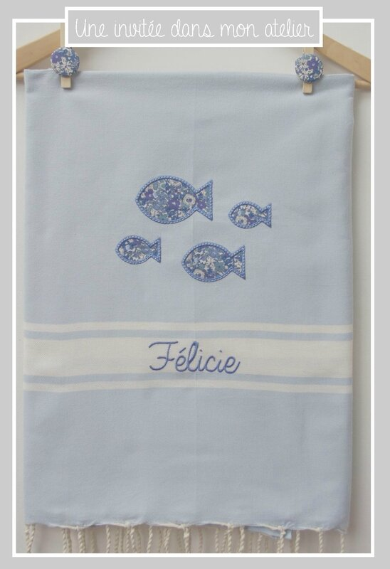 fouta personnalisée-Liberty-Delilah cavendish-bleu
