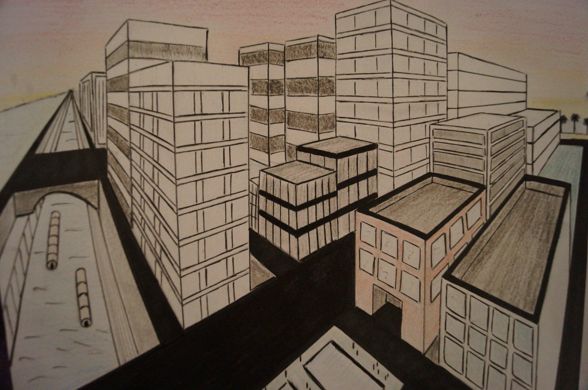 Dessiner une ville avec deux points de fuite