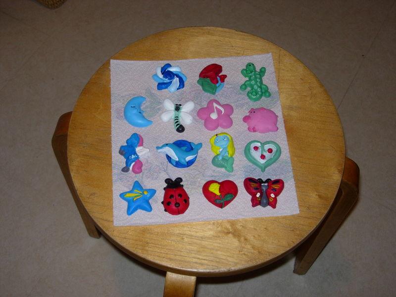 Moulages plâtres peints à l'acrylique