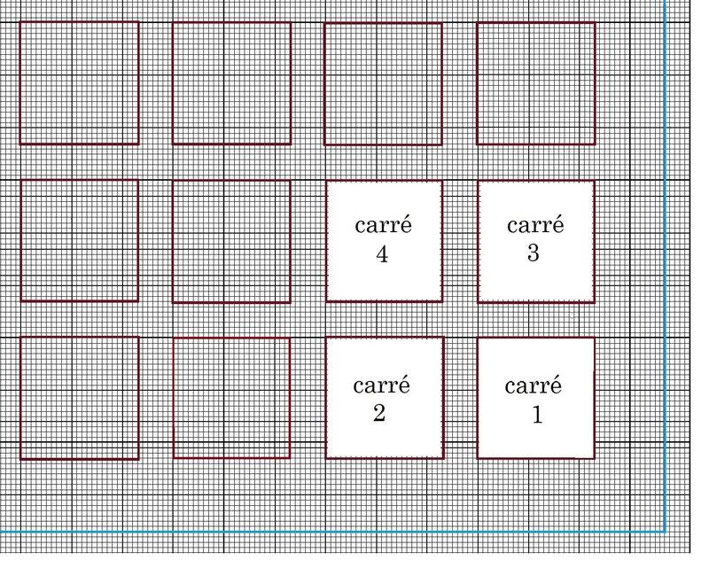 emplacements 4 carrés avec frise