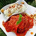 Savoyard en sauce tomate épices thaï, accompagné d'un riz parfumé
