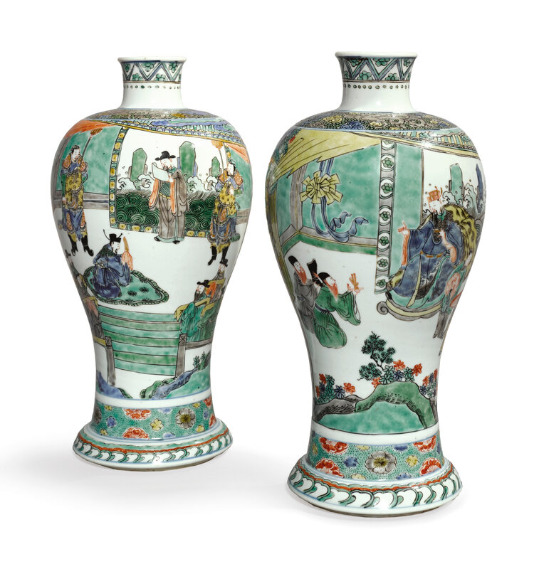 A rare and important pair of famille-verte meiping, Qing dynasty, dated Xinsi year, corresponding to 1701