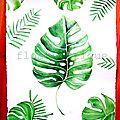 Aquarelle de grandes feuilles de philodendron - VENDUE