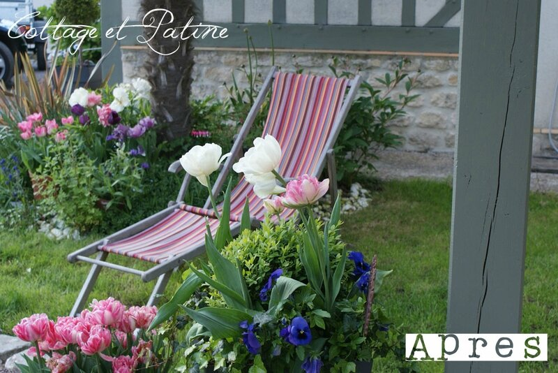 Cottage et Patine refection tissu chaises longues 20 copie