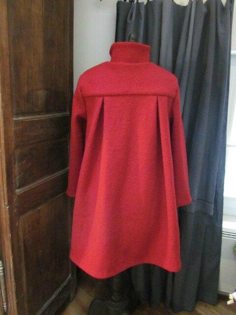 Manteau AGLAE en laine bouillie rouge (8)