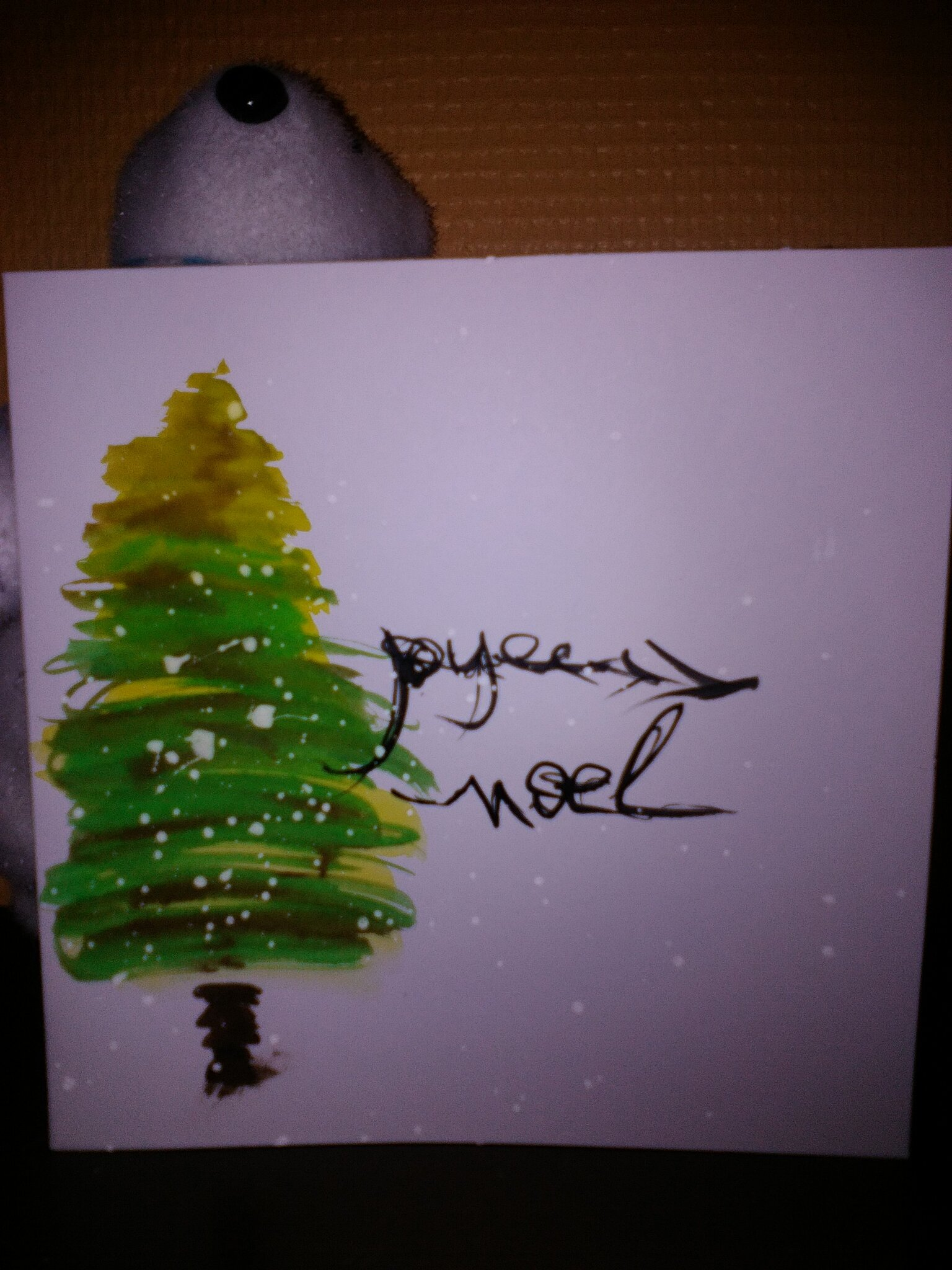 Carte sapin aquarelle