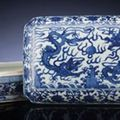 Two fine and rare late ming blue and white rectangular covered boxes. wanli six-character mark within double-rectangles