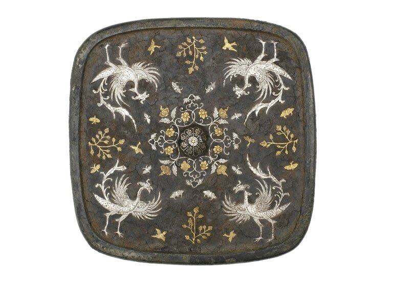 Square mirror with floral medallion, plant sprays, birds, and insects, China, mid-Tang dynasty, 8th century