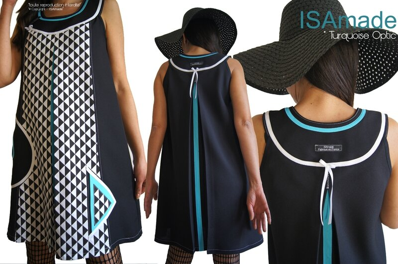 MOD 394B -robe-bicolore-noir-blanc-graphique-turquoise-createur-made-in-france-printemps-2016
