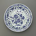 Blue-and-White dish with flaring rim, Yongle period (1403-1424), Ming dynasty (1368 – 1644)