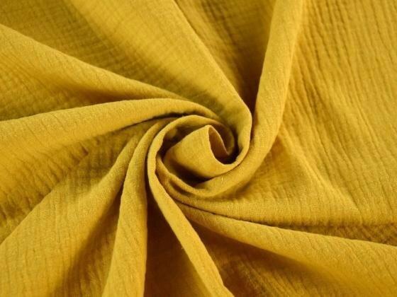 Tissu double gaze de coton uni coloris MOUTARDE au mètre