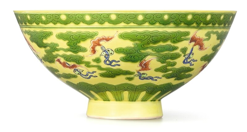 A rare yellow and green 'Bat' bowl with polychrome details, Mark and period of Yongzheng (1723-1735)