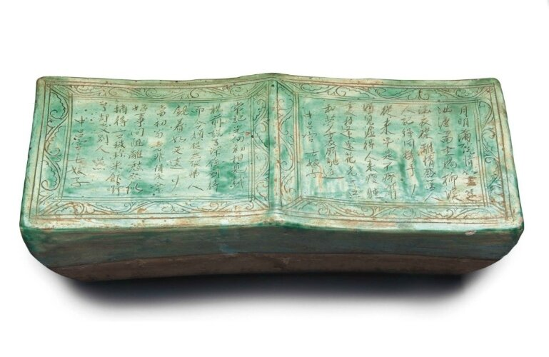 A large green-glazed pottery rectangular pillow, China, Jin-Yuan Dynasty (1115-1368)