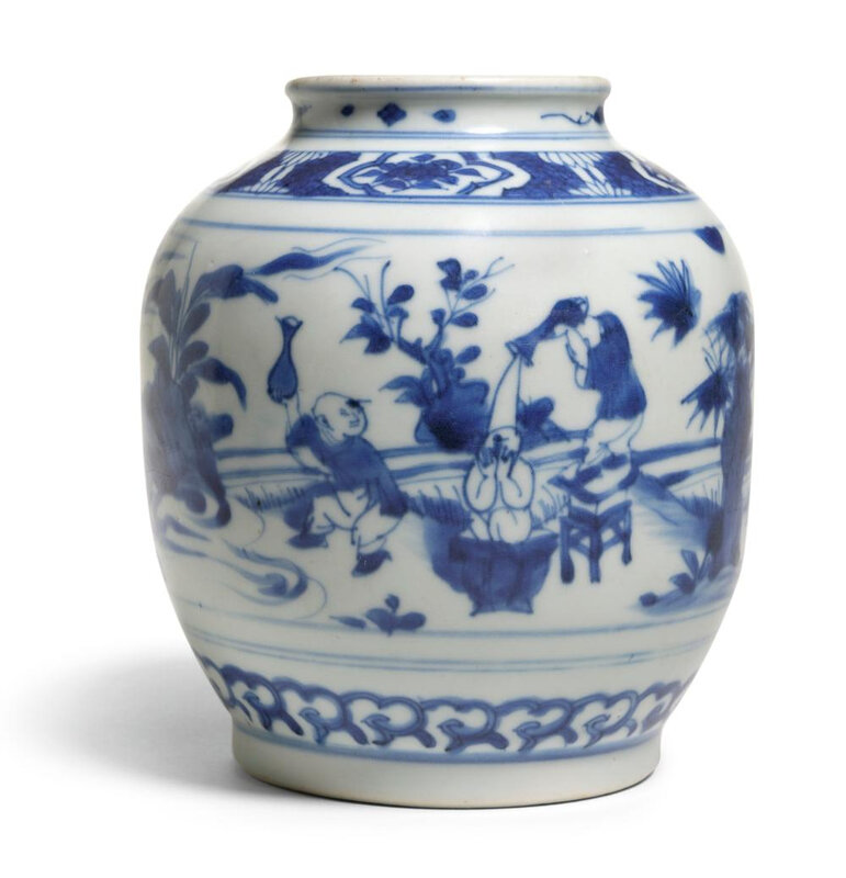 A blue and white 'Boys' jar, Qing dynasty, Kangxi period (1662-1722)