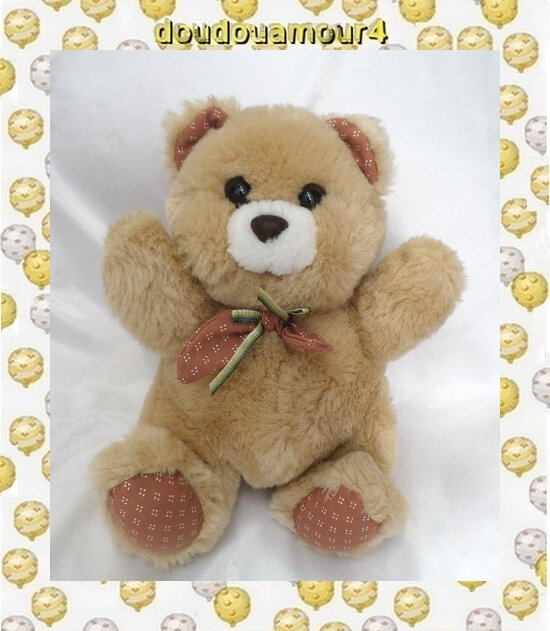Doudou Peluche Ours Assis Marron Assis Noeud Cuddle Wit
