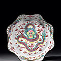 A rare large famille rose canton enamel 'dragon' basin, mid qing dynasty