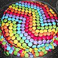Gâteau d'anniversaire arc-en-ciel avec smarties