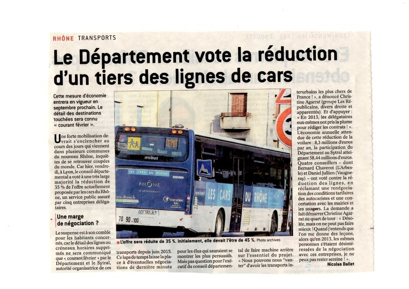 article Progrès 30 janv 2016 réduction cars par le département