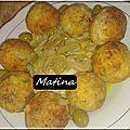 Sfiria batata, croquettes de pdt et leur sauce poulet et champignons