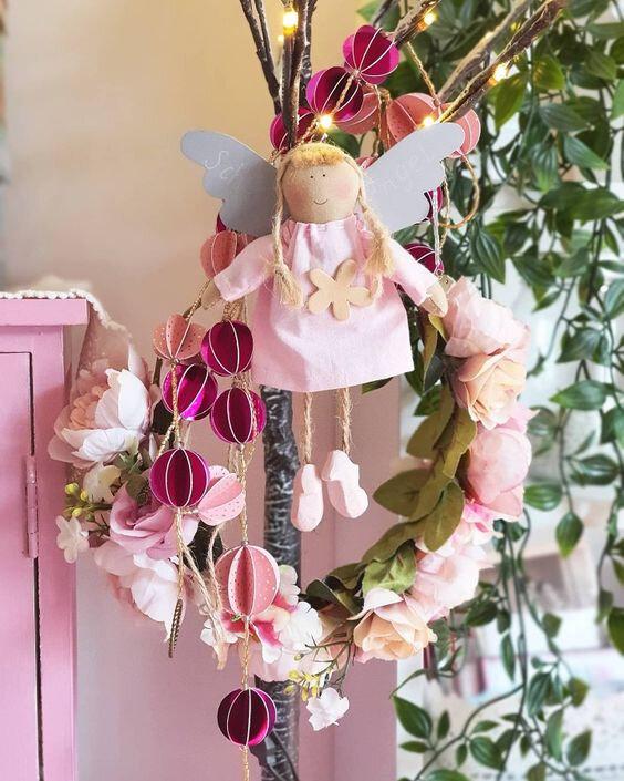 homedeco vanillejolie guirlande papier rose