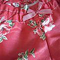 Culotte BIANCA en coton rouge imprimé coquelicots - Noeud de vichy rouge (3)