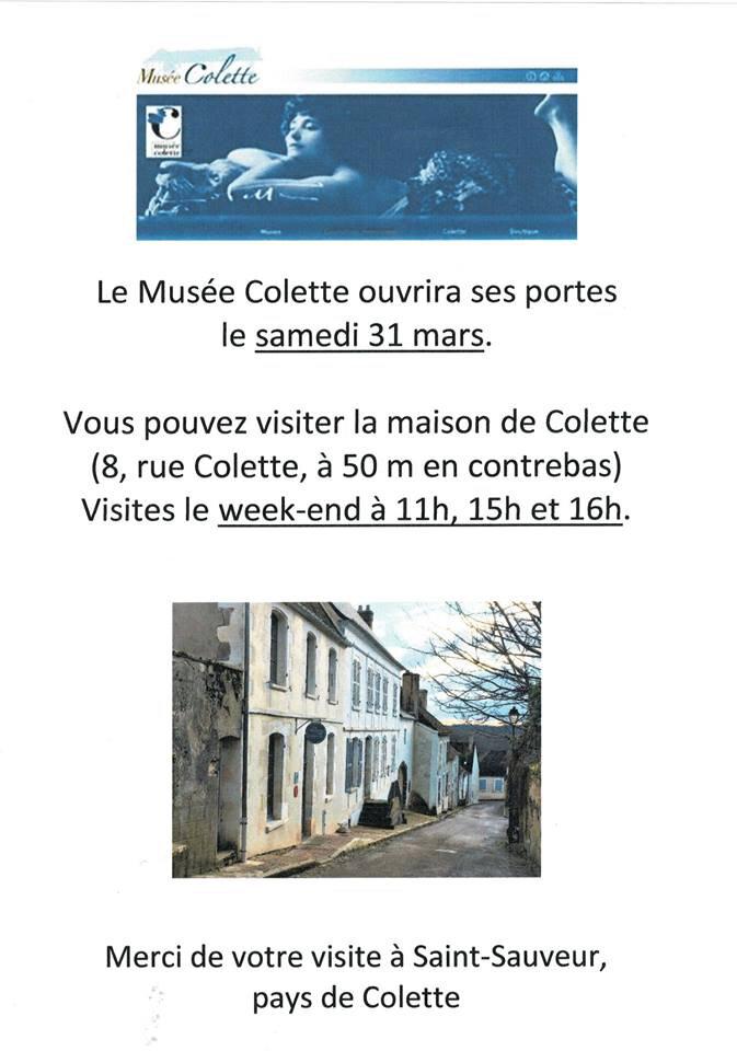 Ré-Ouverture du musée Colette samedi !