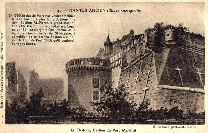 Nantes ancien - Le château - Bastion du Port Maillard