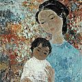 Vũ cao đàm (1908-2000), mother and child, 1963