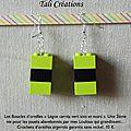 Boucles d'oreilles Legos carrés verts anis et noirs P