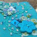 barrette brodée - turquoise 4