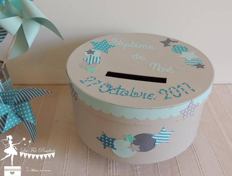 boite a souvenirs urne bapteme theme etoiles gris bleu turquoise