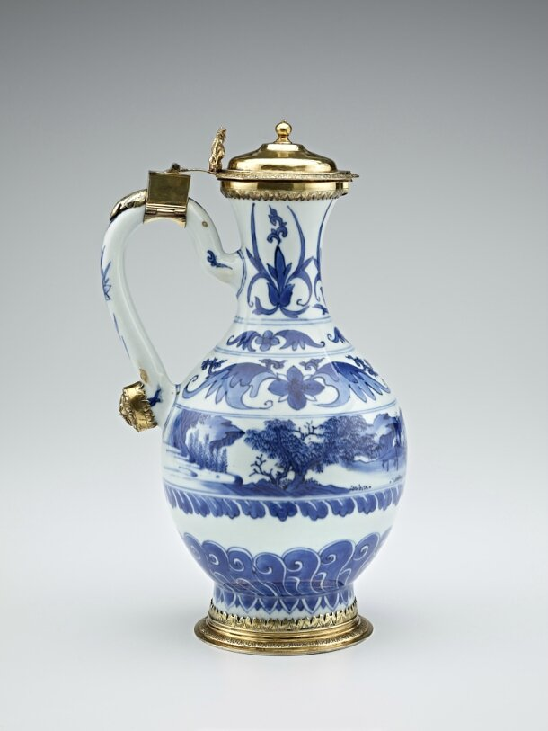 Blue-and-White Ewer with European silver-gilt mounts, ca