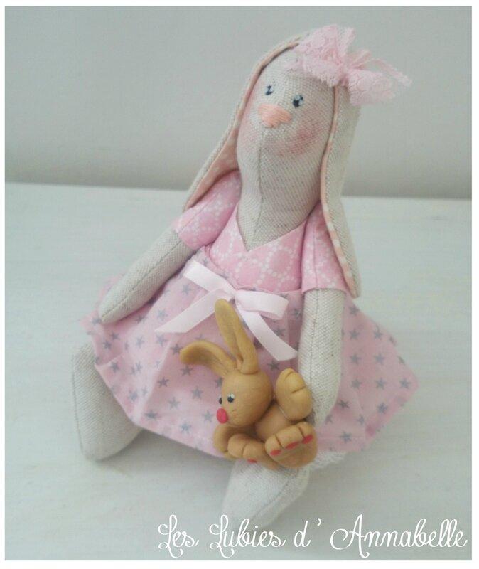 Petite Lapine et son doudou shabby