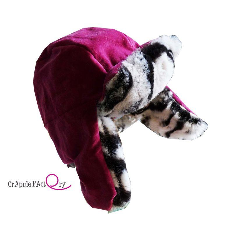 Chapka enfant velours rose et fausse fourrure ! hiver chaud fait main