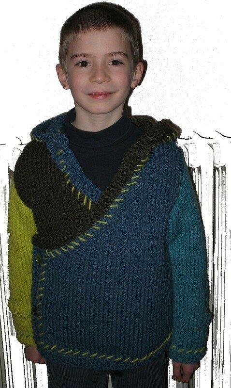 veste multicolore modèle phildar vue de face