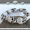 Bracelet perles os de yak tête de mort couleur blanc et noir elastique unisexe
