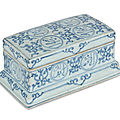 A rare Ming blue and white porcelain pen box, Jingdezhen area, Jiangxi province, China, Zhengde reign (R.1506-21)