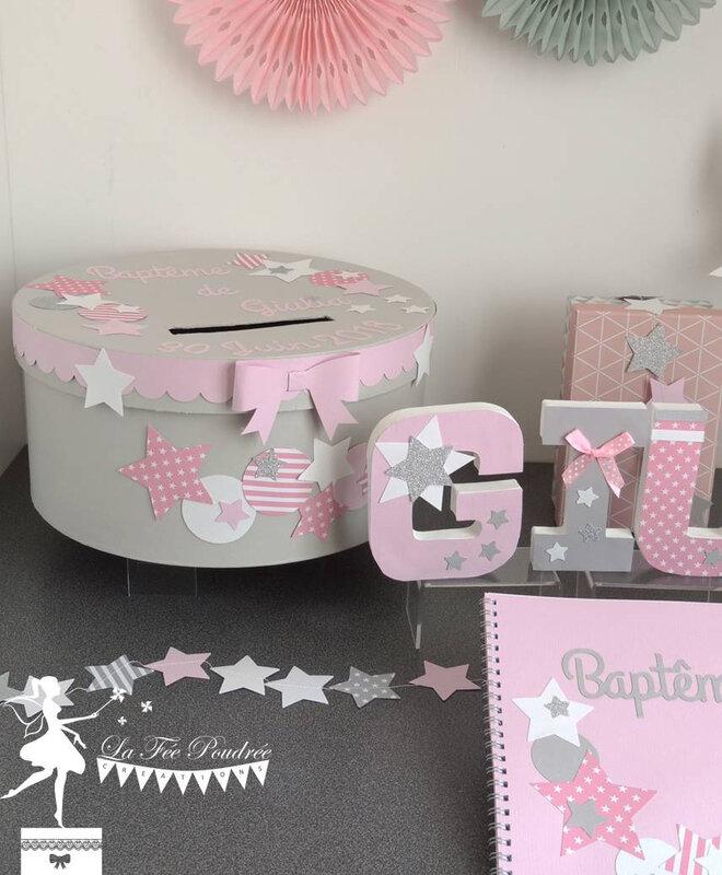 boite a souvenirs urne decoration bapteme theme etoile rose gris blanc lettres prenom